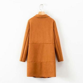 Късо пролетно-есенно палто от еко велур без закопчаване в зелен и кафяв цвят