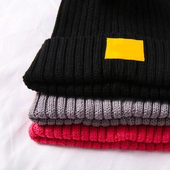 Детска зимна плетена шапка с пух в сив,розов и черен цвят