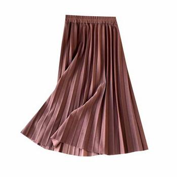 Модерна дамска дълга плисирана пола с ластик на талията в различни цветове