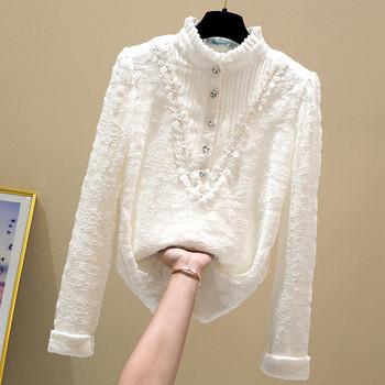 Дамска дантелена риза с ниска яка и копчета в бял,черен и сив цвят