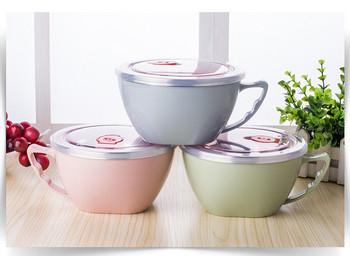 Преносима кутия за храна от неръждаема стомана в розов, зелен и син цвят