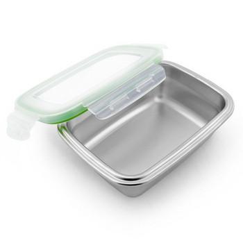 Кутия за съхранение на храна с капак от неръждаема стомана в сив цвят