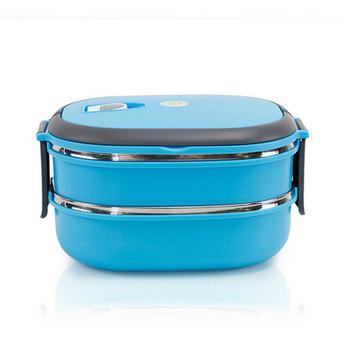 Двойна кутия за храна от неръждаема стомана с капак в син и зелен цвят
