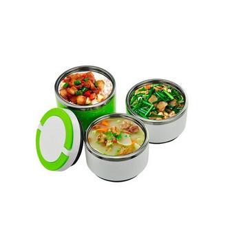 Трислойна кутия за храна от неръждаема стомана в зелен, розов и син цвят