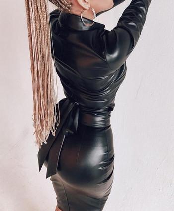 Μοντέρνο γυναικείο φόρεμα μακρυμάνικο  με ζώνη σε μαύρο, λευκό και καφέ χρώμα