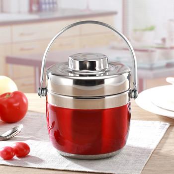 Преносима вакуум кутия с дръжка от неръждаема стомана в сив, червен и розов цвят
