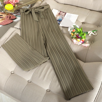 Широк плисиран панталон с висока талия  и колан в зелен,черен и бежов цвят