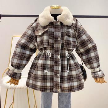Дамско ватирано палто с връзки на талията и колан на ръкава в кафяв и червен цвят