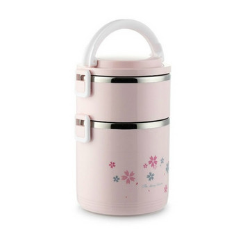 Двойна преносима кутия за храна от неръждаема стомана с капак и дръжка в розов, син и бял цвят