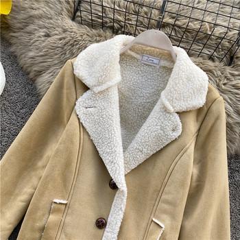 Дамско ватирано палто с копчета в бежов и кафяв цвят