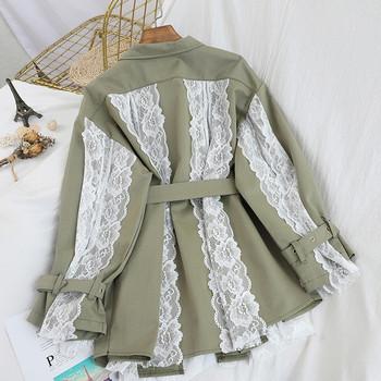 Нов модел дамско палто с дантела и колан в черен и зелен цвят