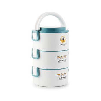 Преносима трислойна кутия за храна от неръждаема стомана с апликация в различни цветове