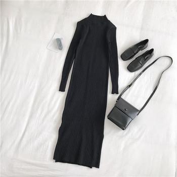 Дамска рокля ретро стил в жълт и черен цвят с поло яка