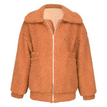 Пухено дамско палто с висока яка и цип в кафяв,черен,червен и оранжев цвят