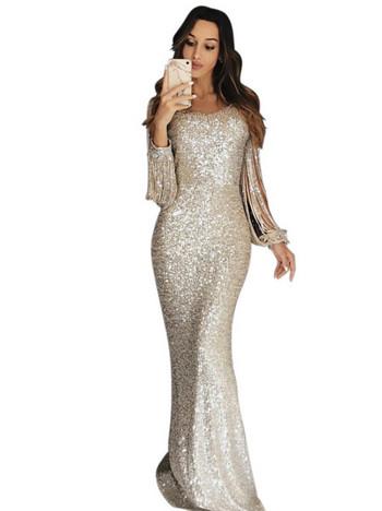 Официална дамска дълга рокля с пайети в розов,златист,сребрист,син и черен цвят