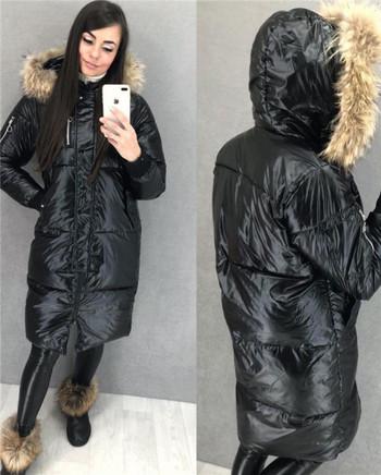 НОВ модел дамско зимно яке с качулка и лъскав ефект в пет цвята