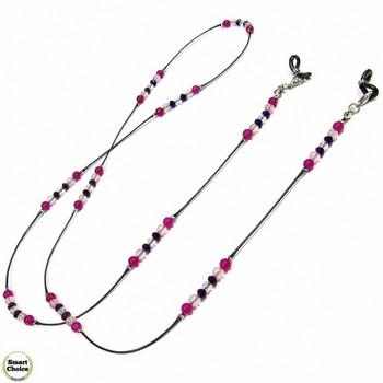 Връзка за очила от естествени камъни Ахат и Розов кварц - DM-1074