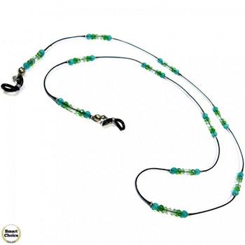Връзка за очила от естествени камъни Авантюрин и Чешки кристал - DM-1072