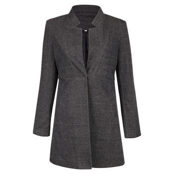 НОВ модел дамско дълго палто с копче и дълъг ръкав в бял и сив цвят