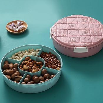 Кръгла кутия с капак и пет разделения подходяща за ядки и плодове в син и розов цвят
