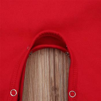 НОВ модел детски коледен гащеризон с качулка и апликация подходящ за момичета и момчета в червен цвят