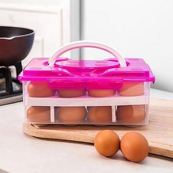 Пластмасова двуслойна кутия с дръжка за съхранение на 24 броя яйца в оранжев, зелен и розов цвят