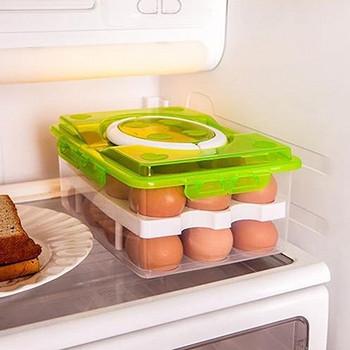 Двойна уплътнена пластмасова кутия с дръжка за съхранение на 24 яйца в зелен и оранжев цвят