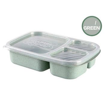 Кутия за храна с три разделения и прозрачен капак в зелен, розов, бежов и син цвят