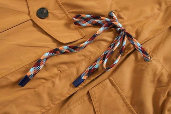 Дълго пролетно-есенно ежедневно палто с джобове и връзки в кафяв цвят