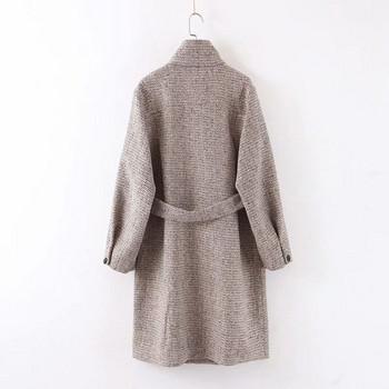 Дълго модерно палто с асиметрично закопчаване и колан в сив цвят