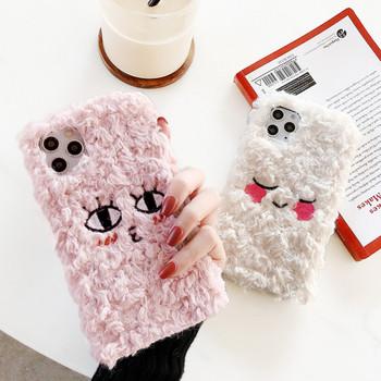 Плюшен калъф с бродерия в розов и бял цвят за Iphone 11 Pro Max