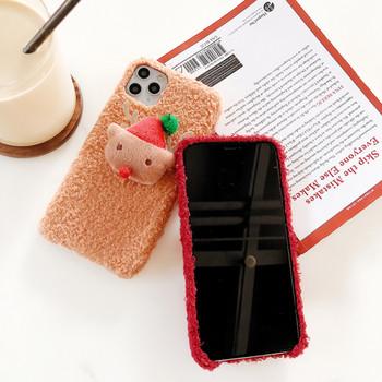 Плюшен калъф за Iphone 11 Pro Max с 3D коледен елемент в червен,оранжев и жълт цвят