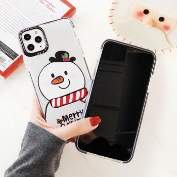 Силиконов коледен калъф със снежен човек и надпис Merry Christmas за Iphone 11 Pro Max - два модела
