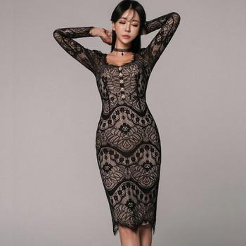 Елегантна дамска дантелена рокля с дълъг ръкав в бежов и черен цвят