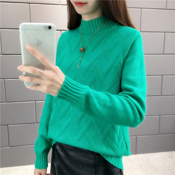 Модерен дамски зимен пуловер с полу-висока яка в син,жълт,зелен,червен,бял и бежов цвят