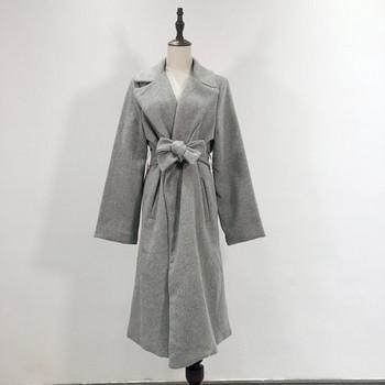 Дълго вълнено палто с колан и джобове в сив,бежов и кафяв цвят