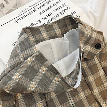 Карирана дамска пола в четири цвята с копчета и висока талия