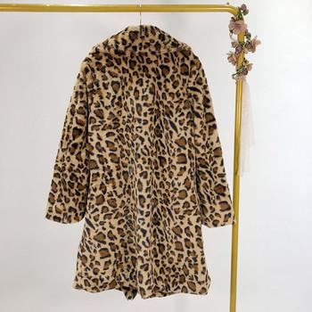 Дълго есенно-зимно пухено палто в кафяв цвят с леопардов принт