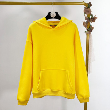 Дамски ежедневен есенно-зимен суичър с подплата и качулка в жълт,зелен,син и черен цвят