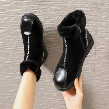 Дамски зимни боти с мека подплата в черен и кафяв цвят