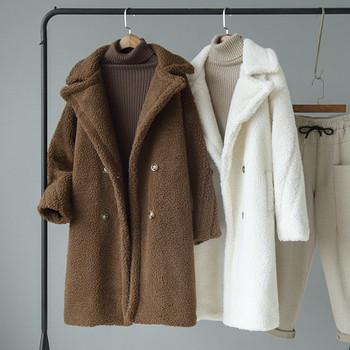 ХИТ Актуално дамско палто дълъг модел в бял и кафяв цвят
