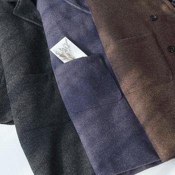 Дамско палто с шпиц деколте и джобове в кафяв и син цвят