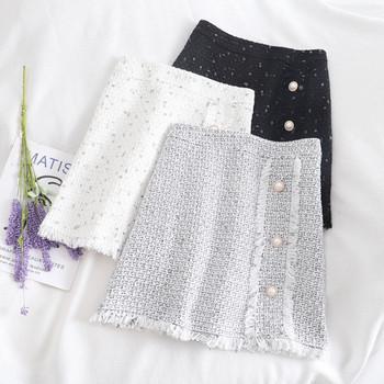 Дамска пола ретро стил в черен,бял и сив цвят с копчета и висока талия