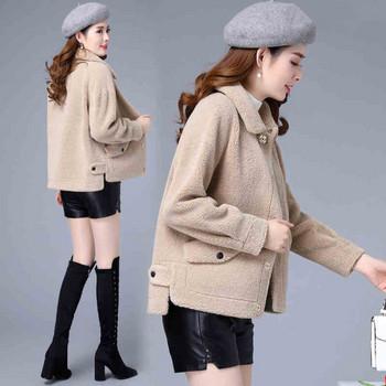 Дамско зимно пухено  палто асиметричен модел с джобове в бял,бежов и кафяв цвят