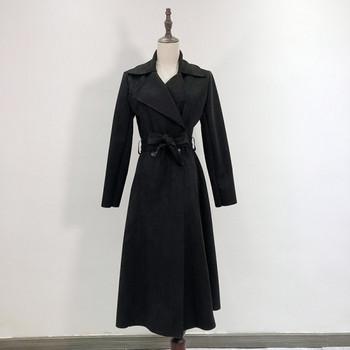 Тънко палто от еко велур със средна дължина с копчета и колан в бордо,син,бежов и черен цвят