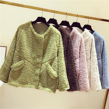 Зимно дамско пухено палто с джобове в кафяв ,бежов ,розов ,син и зелен цвят