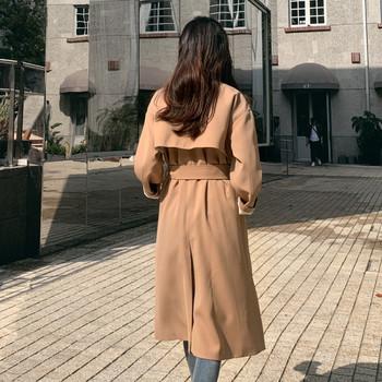 Дамско модерно палто -дълъг модел с колан на талията в кафяв цвят