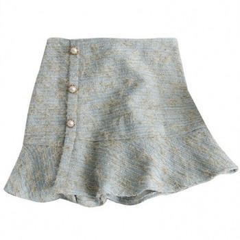 Нов модел дамска пола с копчета в син,бежов и черен цвят