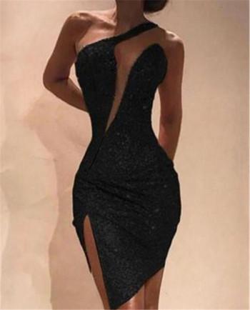 Επίσημο γυναικείο φόρεμα σε ασήμι, χρυσό και μαύρο χρώμα με πούλιες