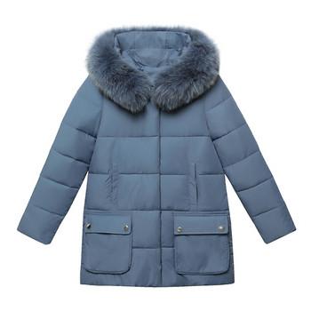 Дамско есенно-зимно яке с пух на качулката и джобове в черен ,червен ,зелен и син цвят